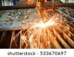 oxygen torch cuts steel sheet.... | Shutterstock . vector #533670697