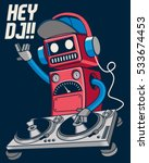 cute retro dj robot and party... | Shutterstock .eps vector #533674453