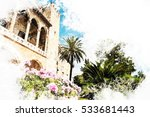 almudaina palace with blooming... | Shutterstock . vector #533681443