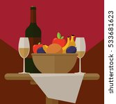 wine  fruit and glasses  is on... | Shutterstock . vector #533681623