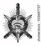 ornate mystic eye inside the... | Shutterstock .eps vector #533687737