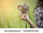 closeup ukulele camera notebook ... | Shutterstock . vector #533694103