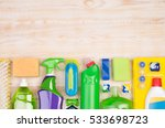 cleaning supplies on wooden... | Shutterstock . vector #533698723