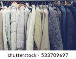 fashion winter coats hanged on...   Shutterstock . vector #533709697