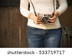 Girl With Vintage Camera In Th...
