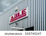 Small photo of ABERDEEN / SCOTLAND - DECEMBER 11 2016 : Able company building under the clouds