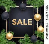 christmas sale gold text poster ... | Shutterstock .eps vector #533757307