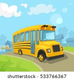 yellow school bus. vector flat... | Shutterstock .eps vector #533766367