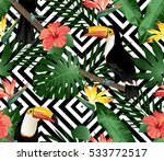 tropical birds and palm leaves... | Shutterstock . vector #533772517