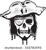 pirate head skull outline ... | Shutterstock .eps vector #533783593