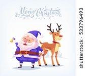 blue suit santa claus merry...