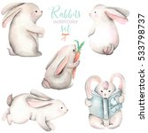 Stock photo collection set of watercolor cute rabbits illustrations hand drawn isolated on a white background 533798737