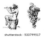 satyr sitting on the barrel... | Shutterstock .eps vector #533799517