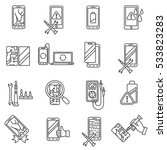 mobile phone repair  icons set. ... | Shutterstock .eps vector #533823283