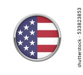 round silver badge with usa flag | Shutterstock .eps vector #533823853