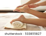 spa concept. hands massaging... | Shutterstock . vector #533855827