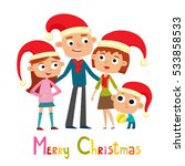 cute family in cartoon style... | Shutterstock .eps vector #533858533