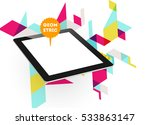 tablet pc icon with geometric... | Shutterstock .eps vector #533863147