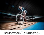 athlete with a bicycle at... | Shutterstock . vector #533865973
