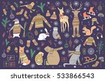 vector hand drawn cute forest... | Shutterstock .eps vector #533866543