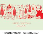 merry christmas card with... | Shutterstock .eps vector #533887867