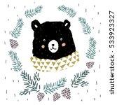 cute black bear portrait in... | Shutterstock .eps vector #533923327