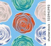 watercolor painting with rose... | Shutterstock . vector #533941993