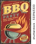 barbecue party retro sign... | Shutterstock .eps vector #533965333