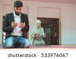 Muslim Man And Woman Praying I...
