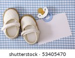 baby white shoes on blue... | Shutterstock . vector #53405470