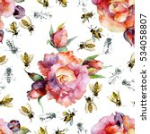 floral pattern. bees. roses.... | Shutterstock . vector #534058807