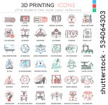 vector 3d printing color line... | Shutterstock .eps vector #534064303