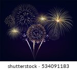 golden fireworks set on... | Shutterstock .eps vector #534091183