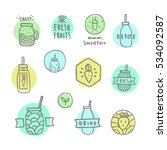 doodle smoothie icons. vector... | Shutterstock .eps vector #534092587