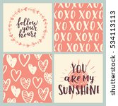 set of greeting cards for... | Shutterstock .eps vector #534113113