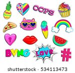 set of cute stickerswith ice... | Shutterstock .eps vector #534113473