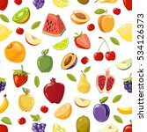 miscellaneous fruits seamless... | Shutterstock . vector #534126373