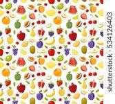 miscellaneous fruits seamless... | Shutterstock . vector #534126403