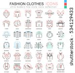 vector clothes shoes color line ... | Shutterstock .eps vector #534129433
