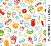 Fast Food Pattern. Hand Drawn...