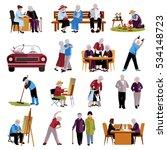 elderly people icons set | Shutterstock . vector #534148723