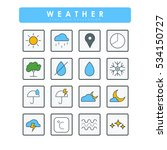 colored flat weather's 16 icons | Shutterstock .eps vector #534150727