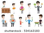 caucasian man holding tray with ... | Shutterstock .eps vector #534163183