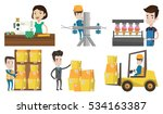 warehouse worker scanning... | Shutterstock .eps vector #534163387