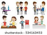 caucasian men toasting and... | Shutterstock .eps vector #534163453