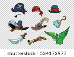 pirate set of knives and hats | Shutterstock . vector #534173977