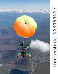 tandem jump. the girl with the... | Shutterstock . vector #534191557