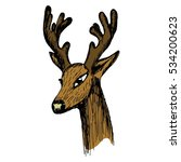 hand drawn sketch of a deer's... | Shutterstock .eps vector #534200623