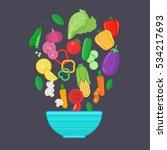 set of healthy vegetables.... | Shutterstock .eps vector #534217693