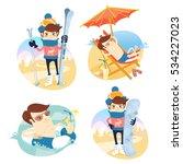 funny man sunbathing on the... | Shutterstock .eps vector #534227023